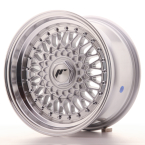 "Japan Racing JR9 Silver w/Machined Lip+Silver Rivets 15""(WTJR9158142074SS-4x100-20)"