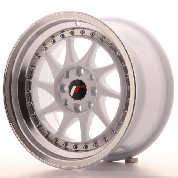 Japan Racing JR26 White w/Machined Lip 15""