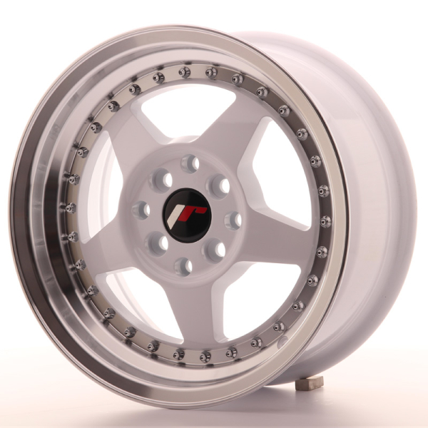Japan Racing JR6 White w/Machined Lip 15""